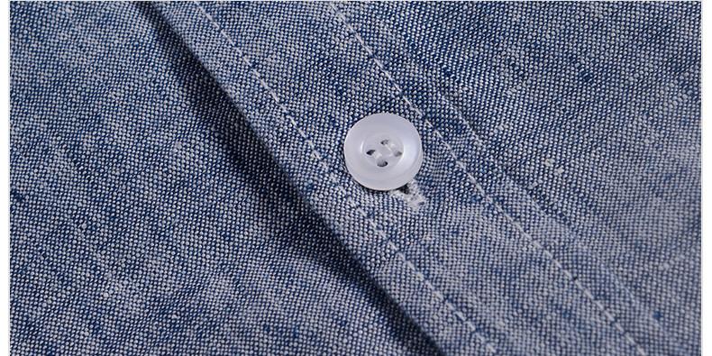 Sky blue linen shirt men summer long sleeve casual men shirts slim breathable shirt mens brand clothing mens shirts chemise 3XL 15