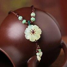 WEIYU Natural Stone Flower Pendant Necklace Handmade Original Design Women Ethnic Aventurine Choker Necklace Fashion Jewelry