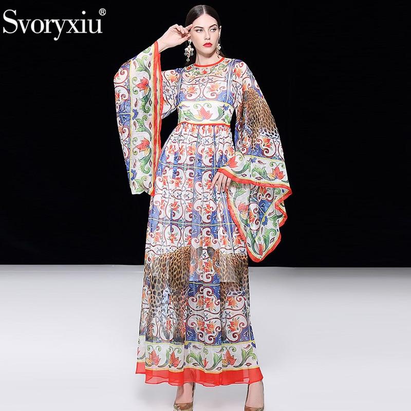 Svoryxiu Runway Summer Vacation Chiffon Maxi Dress Women s Painted Pottery leopard Printed Elegant Party Floor