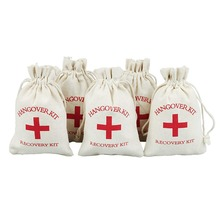 Wedding Party Favor Bags 4x6 inch RED GLITTER CROSS Bachelorette Hangover Kit Recovery Survival Cotton Mu