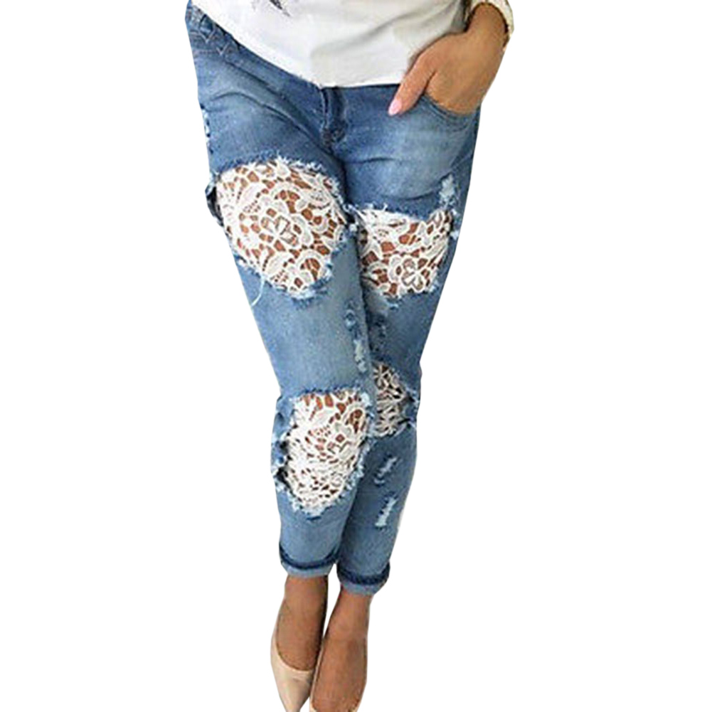 Cheap Jeans Size Lace Spliced Waist Skinny Women Streetwear Fashion Front