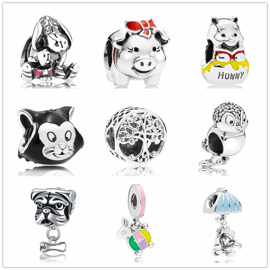 new european 1pc eeyore  family tree bead fit Original Pandora charms silver 925 Bracelet jewelry  for women man making F001