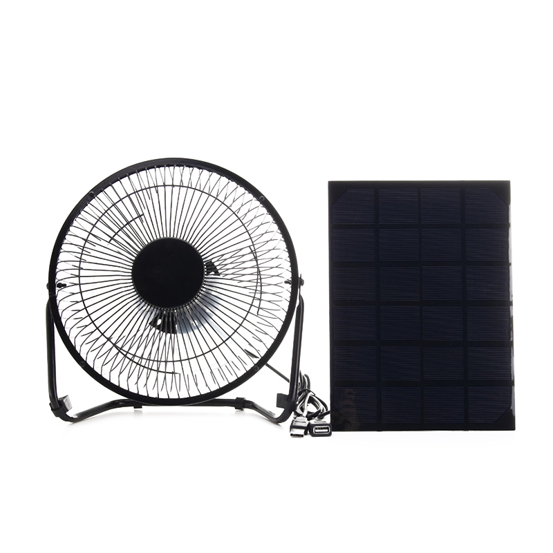 Black Solar Panel Powered +USB 5W metal Fan 8Inch Cooling Ventilation Car Cooling Fan for Outdoor Traveling Fishing Home Office