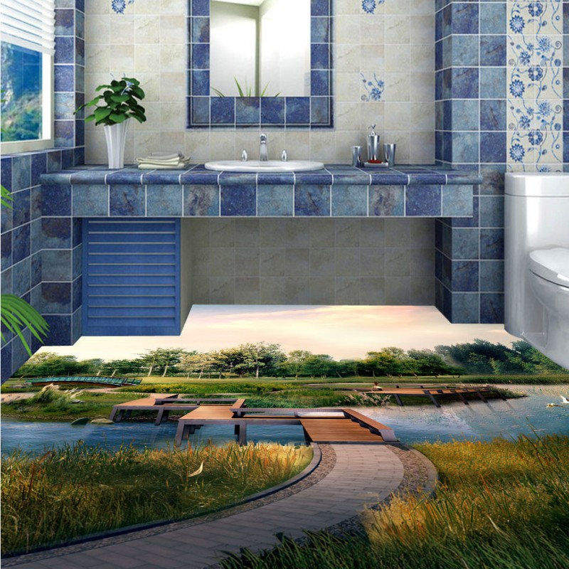 Free Shipping Living Room Bathroom River Lawn 3D Floor Painting Backdrop thickened non-slip bedroom kitchen wallpaper mural free shipping flowing water making money streams falls river 3d floor painting bedroom living room bathroom wallpaper mural