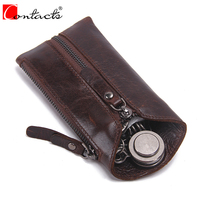 CONTACT S New Vintage Zipper Men S Genuine Cow Leather Car Key Holder Multifunction Housekeeper High