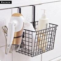 New Iron Hair Dryer Holder Kitchen Cabinet Drawer Organizer Shelf Door Hanger Storage Basket Kitchen Tools