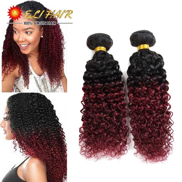 8a Ombre Brazilian Hair Curly Weave 2 Bundles Ombre Hair Extensions