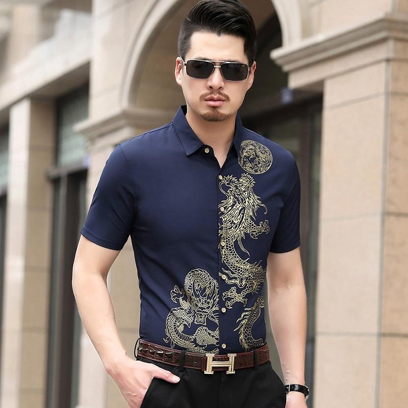 Chinese Style Shirt Men Brand Tops 2019 New Fashion Mens Short Sleeve Shirts Cotton Casual Men Shirt Plus Size 7XL