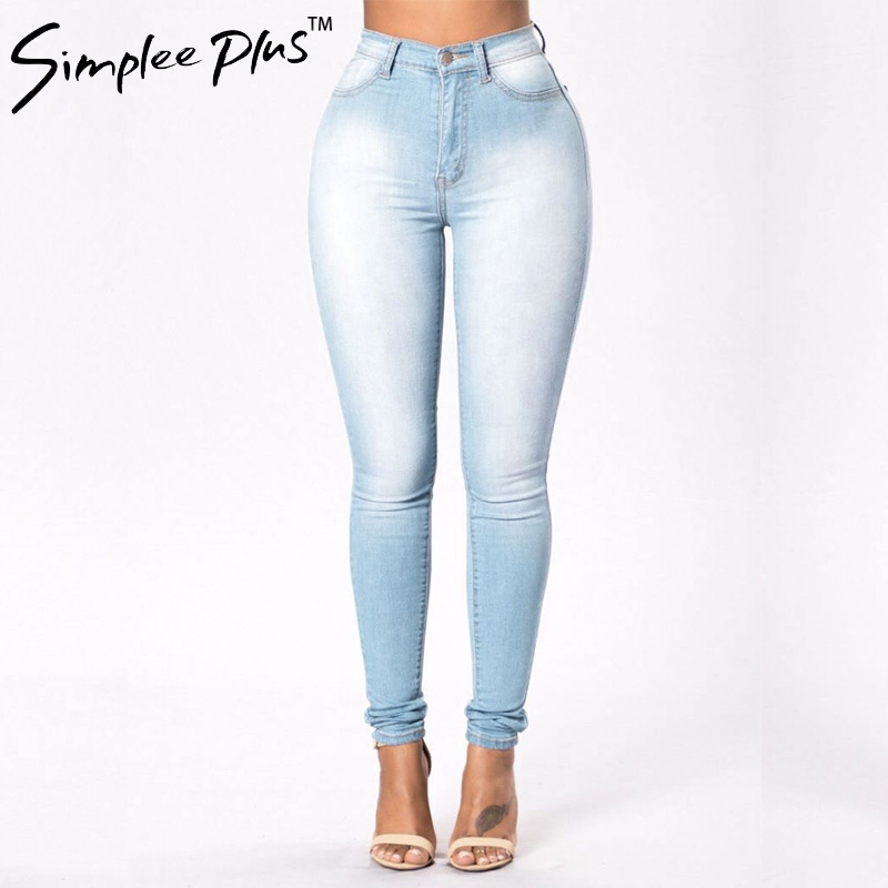 Simplee Plus   Jeans   for Women   Jeans   High Waist   Jeans   Woman High Elastic plus size Stretch   Jeans   female washed denim pencil pants