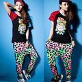 Весна дамы шаровары багги хип-хоп слаксы сращивания хлопок брюки свободного покроя для девочек
