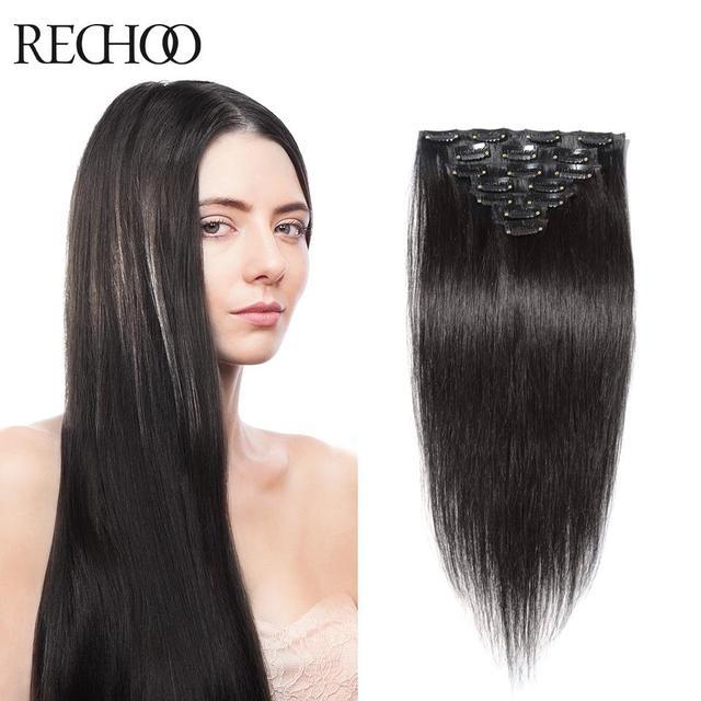 Rechoo продукт волос прямо целую голову реми наращивание волос высокое качество человеческих волос 70 - 175 г вес 16 - 26 дюйм(ов) длинные