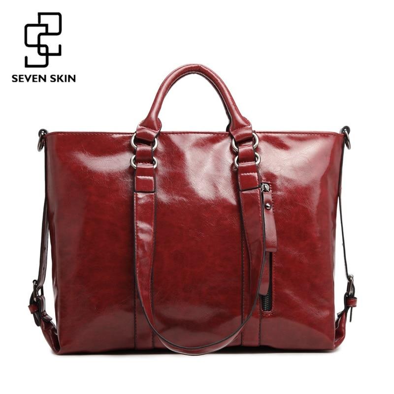 SEVEN SKIN Famous Brands Women Handbag PU Oil Wax Leather Bag Large Capacity Tote Bag Big Shoulder Bags Fashion Designer  Bolsas