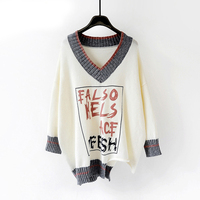 HSA Women Sweaters and Pullovers 2018 Autumn Winter V neck Letters Print Pull Jumpers Chic Oversized Knitwear Female Pull Femme