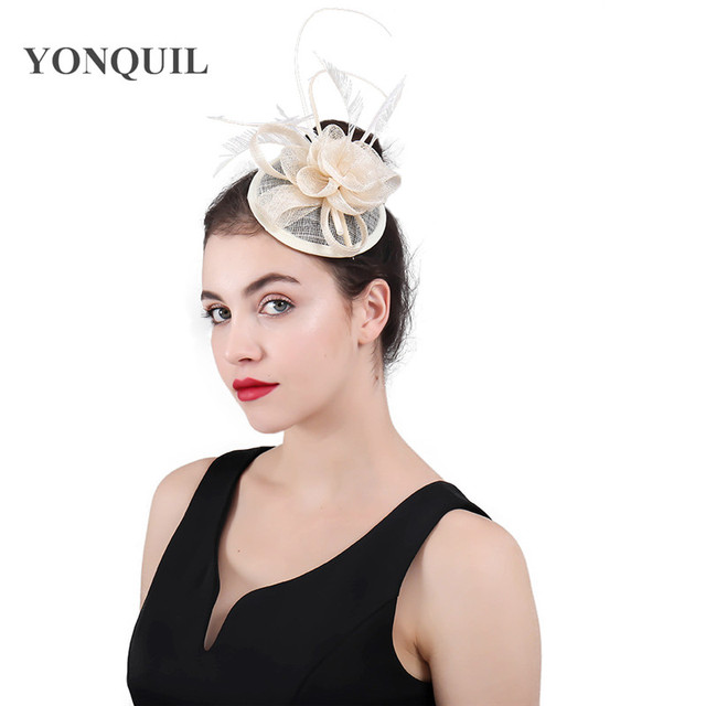 ae6092d9 Fashion Feather sinamay Fascinator Hat Hair Clip Women Cocktail Party  Wedding Bridal Hat Fascinator Ladies Dress Hair Alice Band