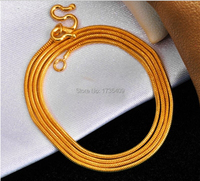Solid 999 24K Yellow Gold Chain/ Unique Round Snake chain Necklace/8g