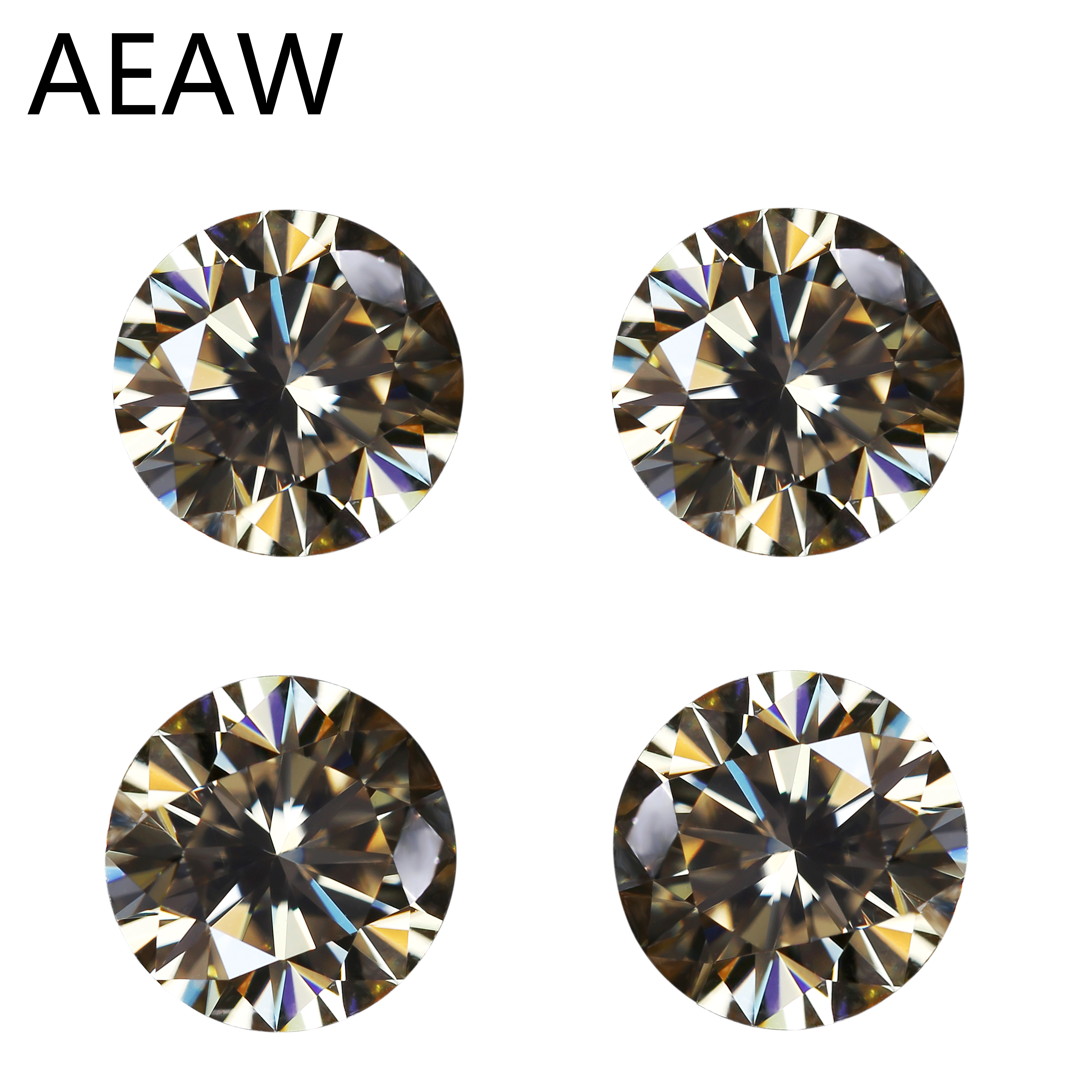 VVS1 Excellent Cut Grade Test Positive 4mm 0.24ct Carat Round Cut Yellow Moissanite EF Color Loose Stones Moissanite