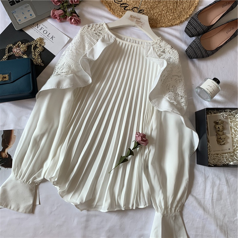 2019 New Spring And Autumn Womens Round-collar Knitted Spliced Gauze Blouse Female Elegant Flare Sleeve Shirts Back To Search Resultswomen's Clothing