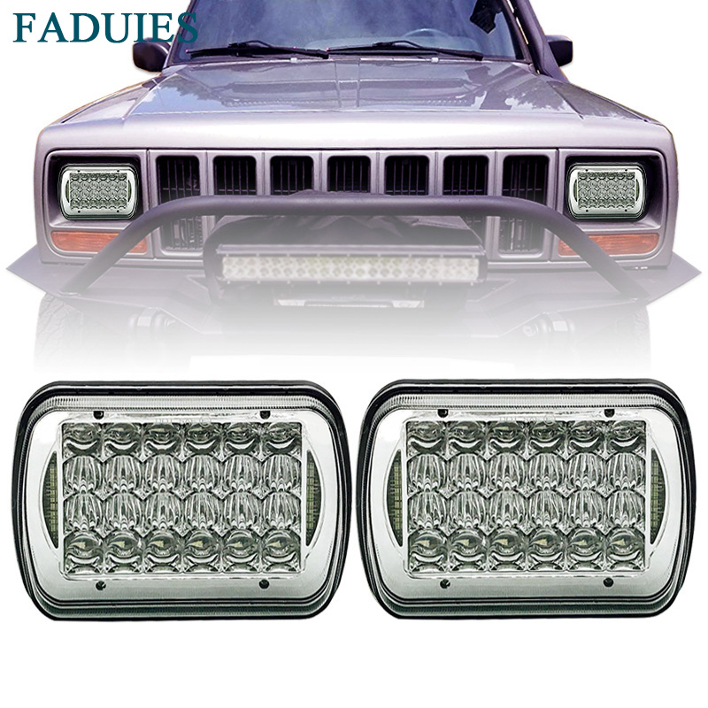 FADUIES 85W 5 x 7 inch Projector LED Headlights 5D Lens For Jeep Wrangler YJ Cherokee XJ H6054 H5054 H6054LL 69822 6052 6053 universal black 3 76mm polished aluminum fmic intercooler piping kit diy pipe length 450mm for jeep cherokee xj ep lgtj76 450