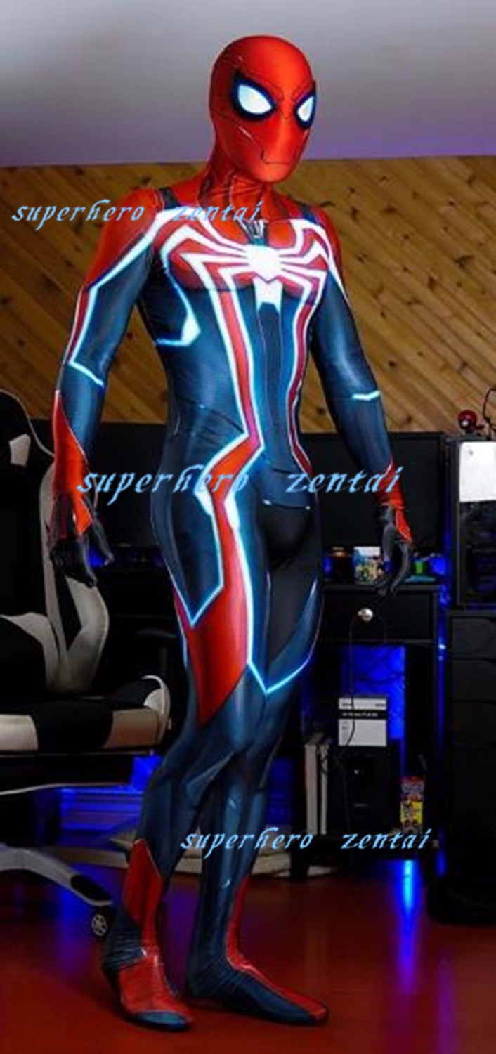 New Styles PS4 Velocity Spiderman Cosplay Costume 3D Print Spandex Zentai Suit Game Superhero Catsuit For Men/Girl/Custom made