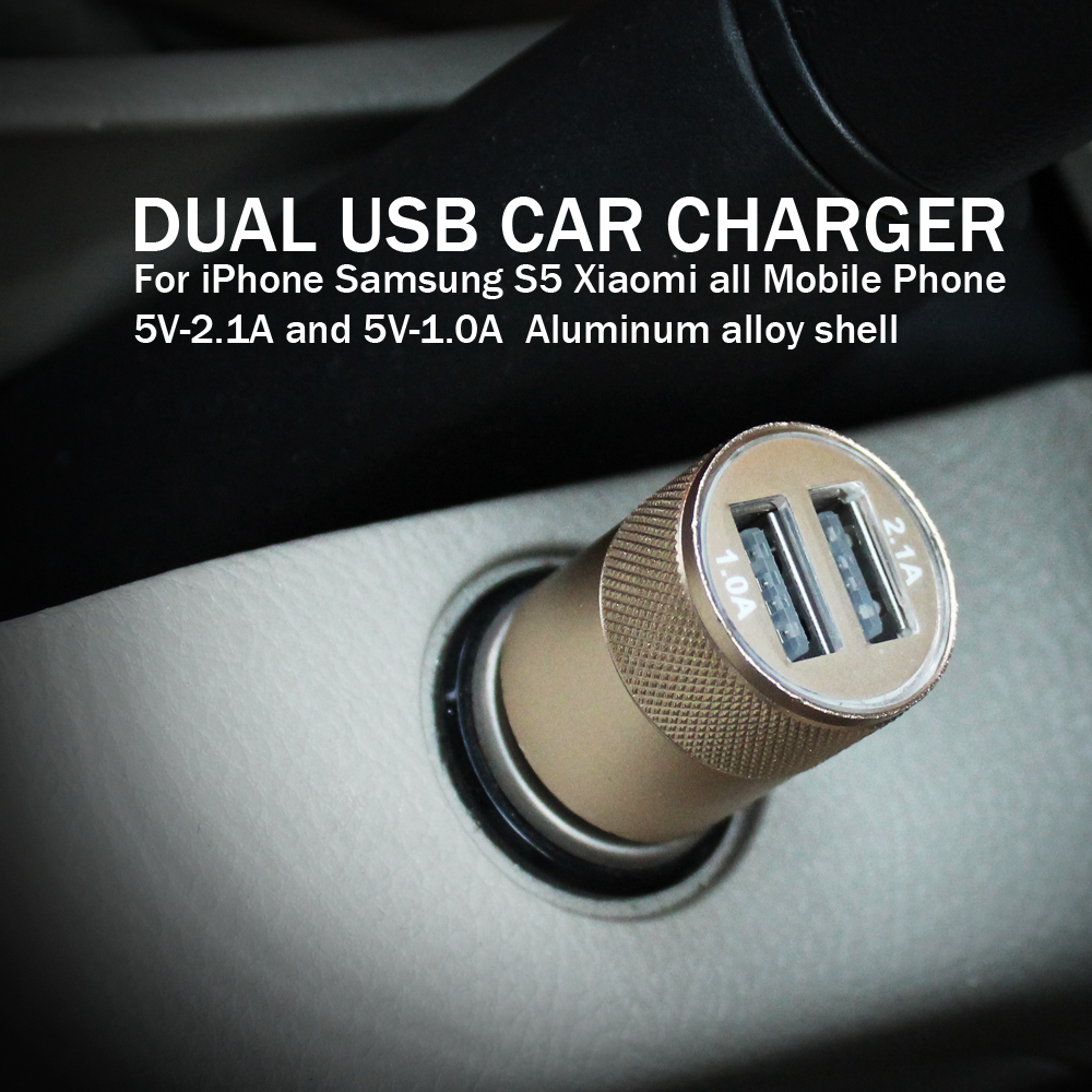ESVNE Micro USB Charger Matel Dual USB Car Charger For iPhone Samsung S5 Xiaomi Mobile Phone Car Charger USB Adapter in Car Chargers from Cellphones Telecommunications