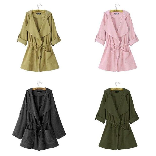Женщины С Капюшоном Шнурок Тонкий Длинную Траншею Пальто Ветровка Пиджаки Мода Нового Прибытия