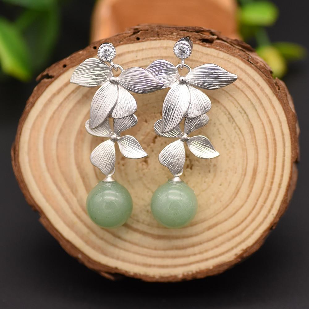 GLSEEVO Natural Aventurine Quartz Leaf Drop Earrings Silver Piercing Dangle Earrings For Women Brincos Para As Mulheres GE0092C metal leaf layered drop earrings
