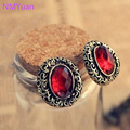 European And American Vintage Jewelry Fine Carved Hollow Oval Earrings Imitation Gemstone Jewelry Wholesale