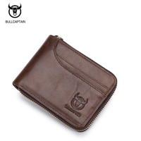 BUllCaptain Genuine Leather Men Wallets Short Coin Purse Small Retro Wallet Cowhide Leather Card Holder Pocket