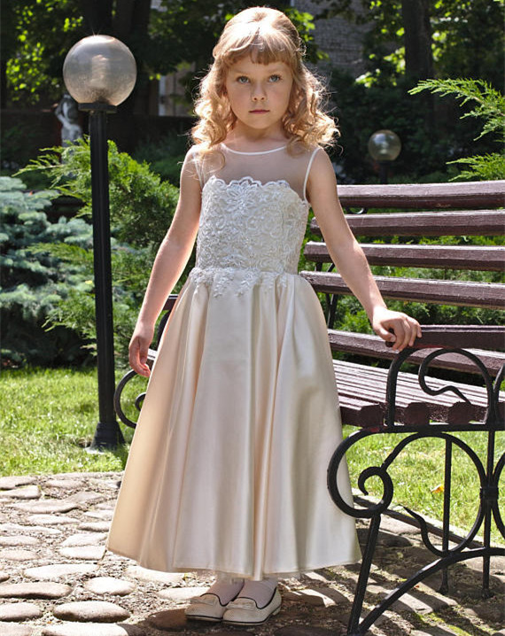Pageant Birthday Dress for Girls Champagne O-neck Sleeveless Lace Appliques Flower Girl Dresses for Weddings цены онлайн
