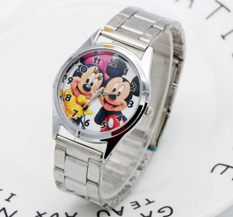1PCS Cartoon Minnie mickey watch girls Stainless steel watch   fashion table ladies watch men women1PCS Cartoon Minnie mickey watch girls Stainless steel watch   fashion table ladies watch men women