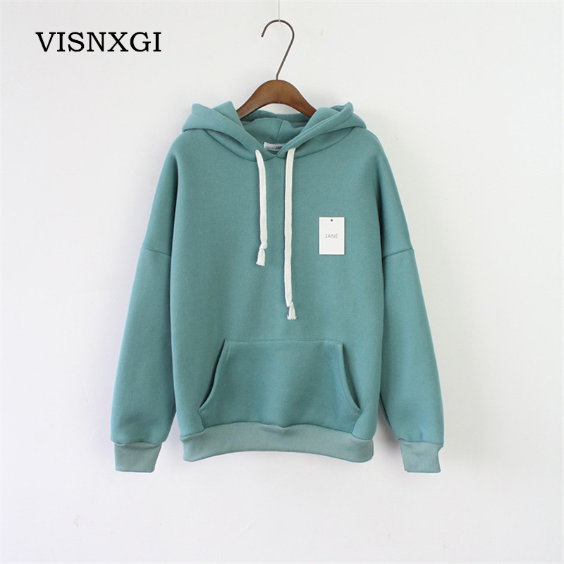 Winter Hoodie For Female Sweatshirt Candy Colors Women Hoodies Long Sleeve Harajuku Pocket Design Pullovers Sudaderas Mujer S248 ...