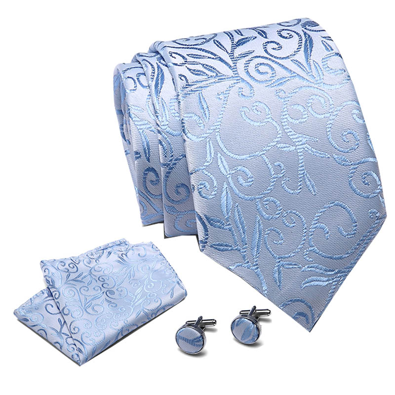 New Design Tie Set 100%Silk Jacquard Woven Gravata Silk Tie Hanky Cufflinks Necktie Sets For Wedding Party Men