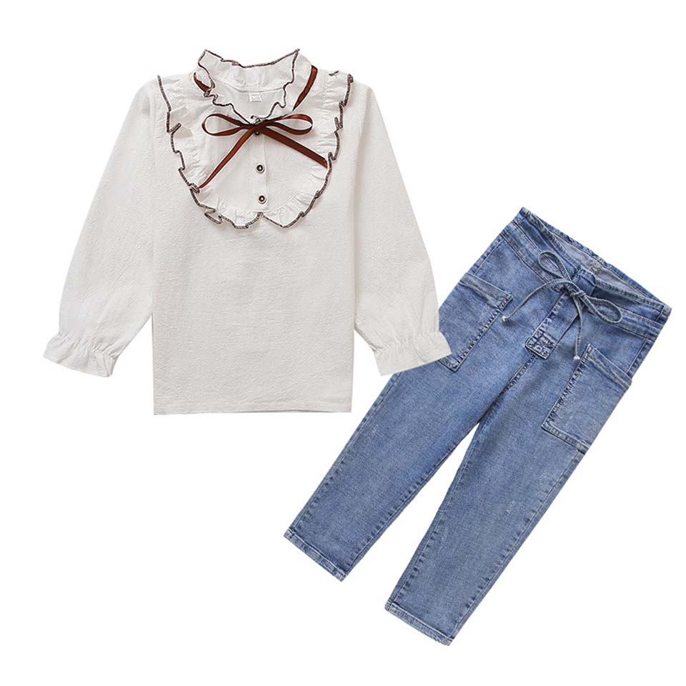 2019 Fashion Spring Summer Casual Clothes Sets 4-12Y Toddler Baby Girls Petal Sleeve White T-Shirts Tops Solid Blue Pants2019 Fashion Spring Summer Casual Clothes Sets 4-12Y Toddler Baby Girls Petal Sleeve White T-Shirts Tops Solid Blue Pants