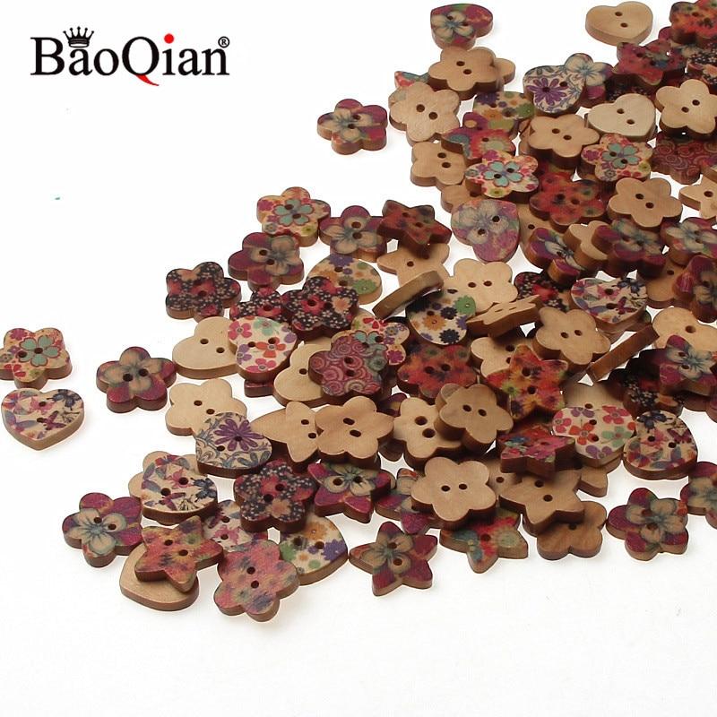 100 шт для шитья, деревянные пуговицы Скрапбукинг разные формы 2 отверстия смешанные пуговицы для шитья Швейные аксессуары 17 мм