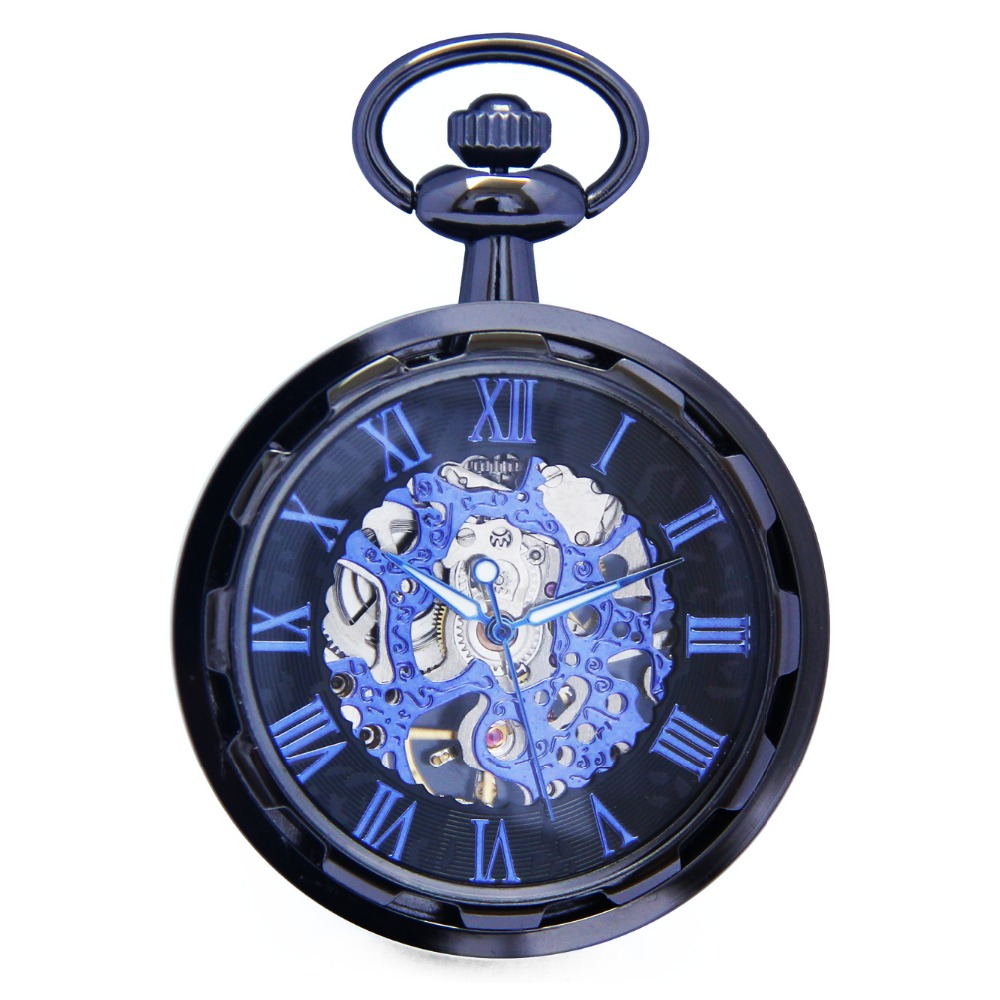 Cool Skeleton Hollow Roman Blue Analog Open Face Hand Winding Movement Mechanical Pocket Watch Clock Pendant Fobs Chain /WPK241 shuhang rose cooper mechanical hand winding pocket watch octagon shape roman number skeleton clock pendant with chain best gift