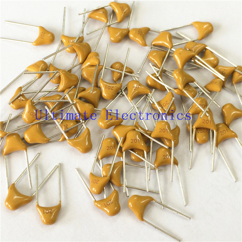 100pcs/lot Multilayer ceramic capacitor 201 50V 200pF 201J P=5.08mm
