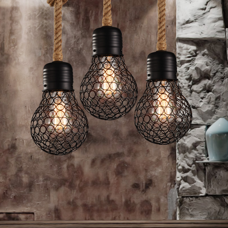 Vintage Rope Pendant Light edison bulb American Style metal cage lamp restaurant dining room lights industrial bar lighting nordic american edison bulb loft industrial glass stone point ceiling lamp vintage pendant lights cafe bar dining room light