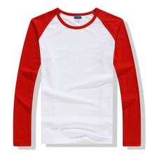 2018 Autumn Winter Long Sleeve T Shirt Men Contrast Color Round Collar Cotton Mens Casual Slim Fit Raglan T-Shirts Tees Tops