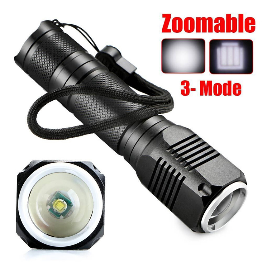 High Quality 4000LM Zoomable XML Q5 LED 18650 Flashlight Torch Zoom Lamp Light 3 Mode