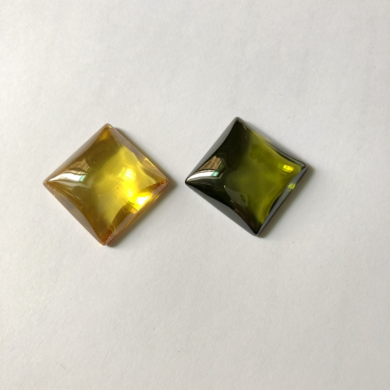Green Gold Zircon gem Cabochon CAB 25.4mm Square Semi Gem Stone Jewelry Cabochon Ring face
