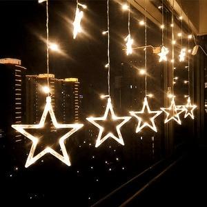 Image 1 - נופש תאורת 4 M 138LED חג המולד אורות חיצוני פתית שלג פיות וילון LED מחרוזת אור לבית מסיבת השנה החדשה קישוט