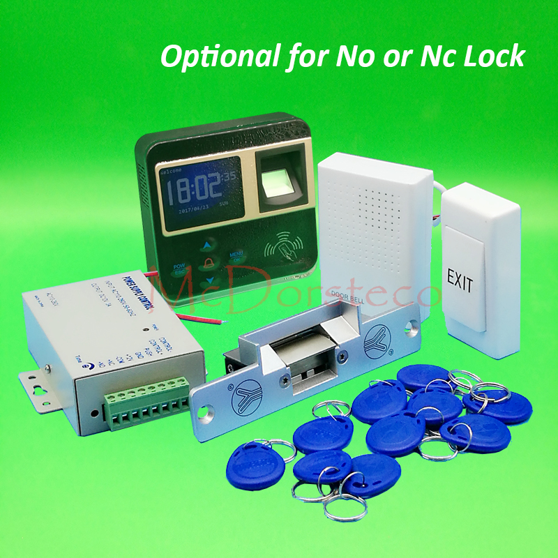 DIY Complete No Nc Electric Strike Lock Door System Kit Fingerprint Access Control System + Power Supply + Door Bell animal dolls complete diy kit assorted
