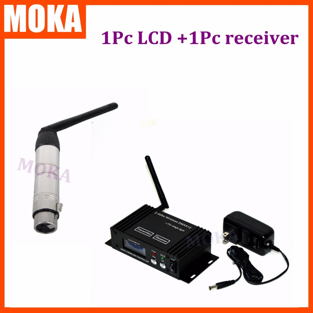 2 Pcs/lot Wireless LCD Display DMX 512 Signal Sender Transmitter 2.4G Receiver 2IN1 Wireless Beam Light Controlling цена