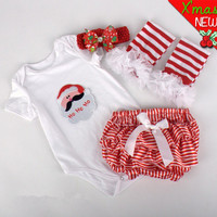 4Pcs Set Newborn Infant Baby Xmas Sets Kids Christmas Clothes Santa Girls Clothing Suit Outfits Headflower