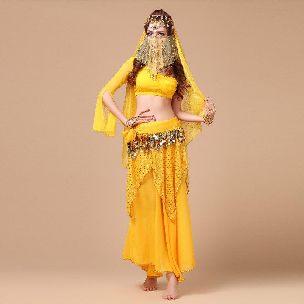 Offre spéciale!! 2017 nouveau Costume Sexy de danse du ventre ensemble 5 pièces (haut + jupe + ceinture + chapeaux + voile) Bollywood/Costumes de danse indienne Dancewear