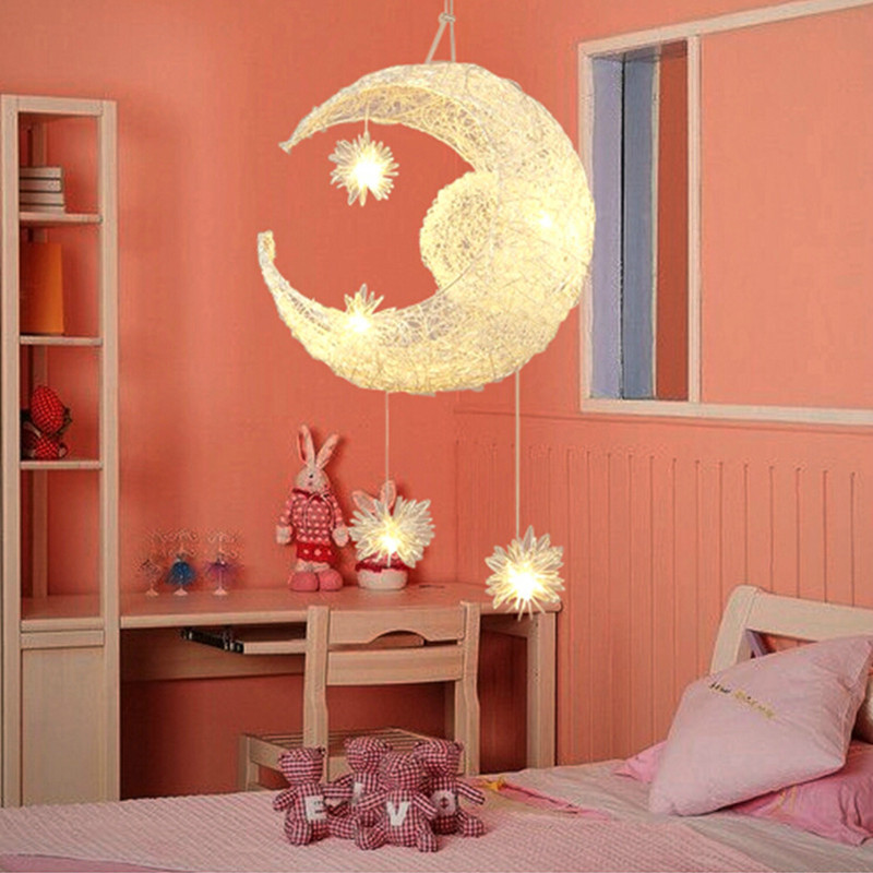 Artpad Art Design Moon&Stars Pendant Lights Home Decor Lighting Aluminium Girl Kids Bedroom Hanging Lights For Children Room