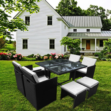 Garden Rattan Sofa Set with Dining Table 4 Chairs 4 Stools Outdoor Furniture HOT SALE