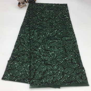 5yards high density sequins embroidered French net lace fabric army green African tulle lace fabric for fashion dress SQXS075