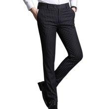Mens suit pants business casual decoration classic wedding mens striped slim trousers