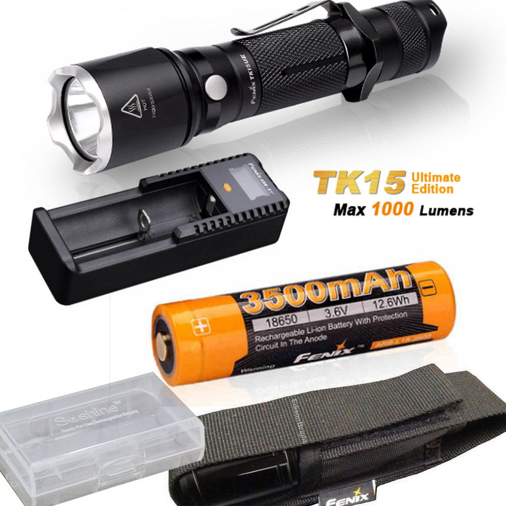 Fenix TK15UE (Ultimate) 2016 CREE LED 1000 Lumen tactical Flashlight with Fenix ARB-L18-3500 battery, ARE-X1+ charger fenix hp25r 1000 lumen headlamp rechargeable led flashlight
